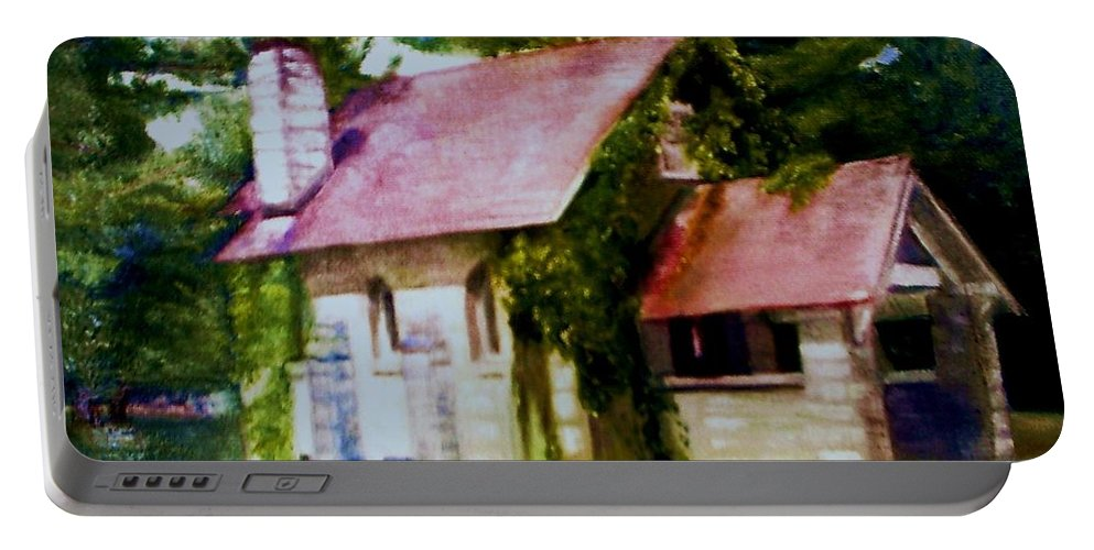 Church Portable Battery Charger featuring the painting Lyons Falls Church by Sheila Mashaw
