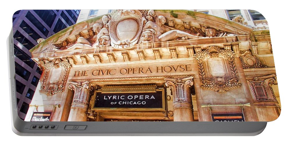 Alicegipsonphotographs Portable Battery Charger featuring the photograph Lyric Opera Of Chicago by Alice Gipson