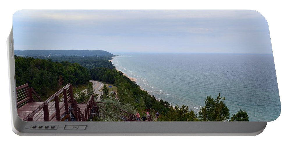 M-22 Portable Battery Charger featuring the photograph M22 Scenic Lake Michigan Overlook by Michelle Calkins