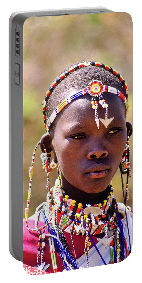 Africa Portable Battery Charger featuring the photograph Maasai Beauty by Michele Burgess