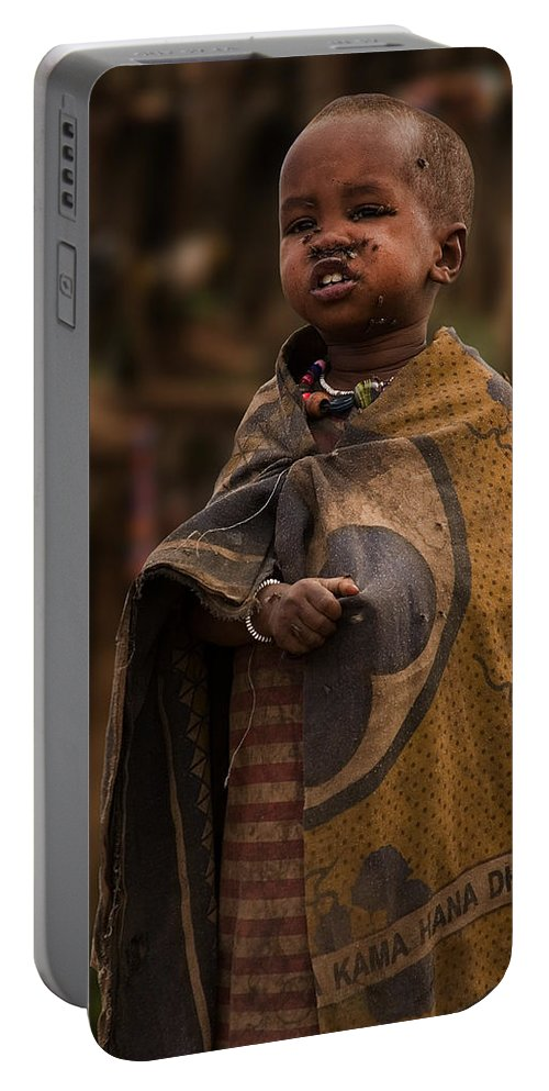3scape Photos Portable Battery Charger featuring the photograph Maasai Boy by Adam Romanowicz
