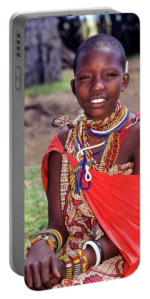 Africa Portable Battery Charger featuring the photograph Maasai Teenager by Michele Burgess