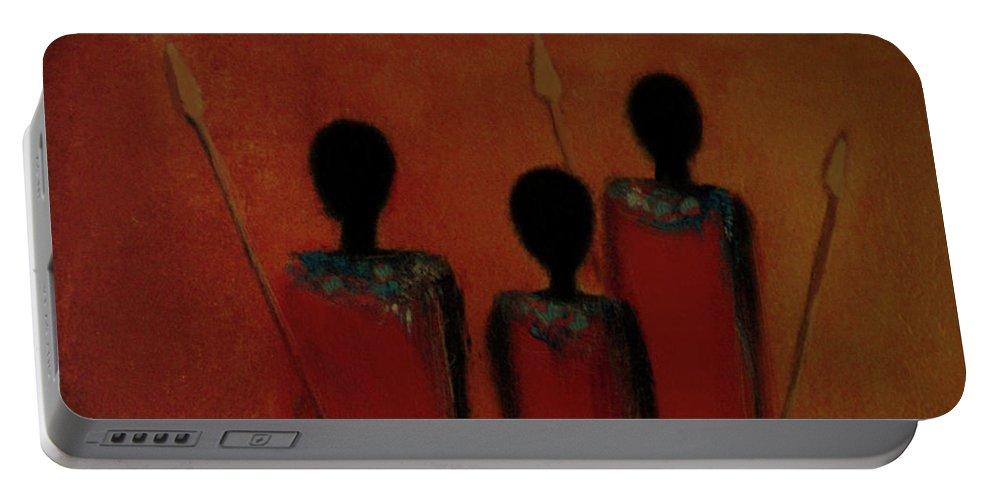 Maasai Portable Battery Charger featuring the digital art Maasai Trio by David Dehner