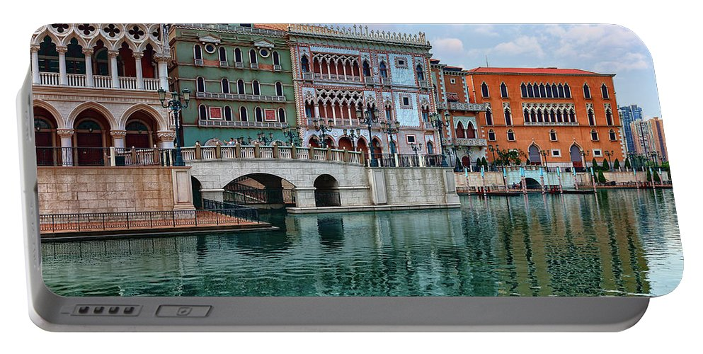 Venetian Portable Battery Charger featuring the photograph Macau China Attractions by Sergey Nosov