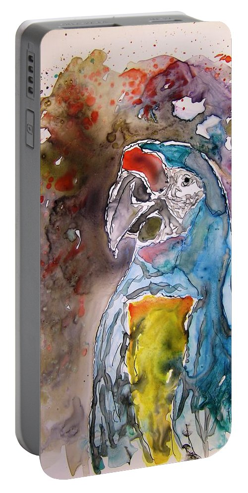 Parrot Portable Battery Charger featuring the painting Macaw Parrot by Derek Mccrea