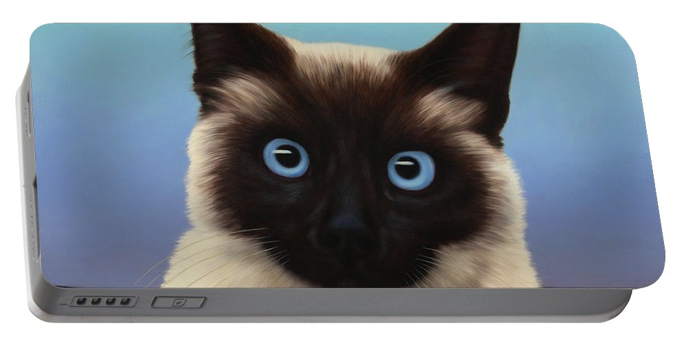 Cat Portable Battery Charger featuring the painting Machka 2001 by James W Johnson