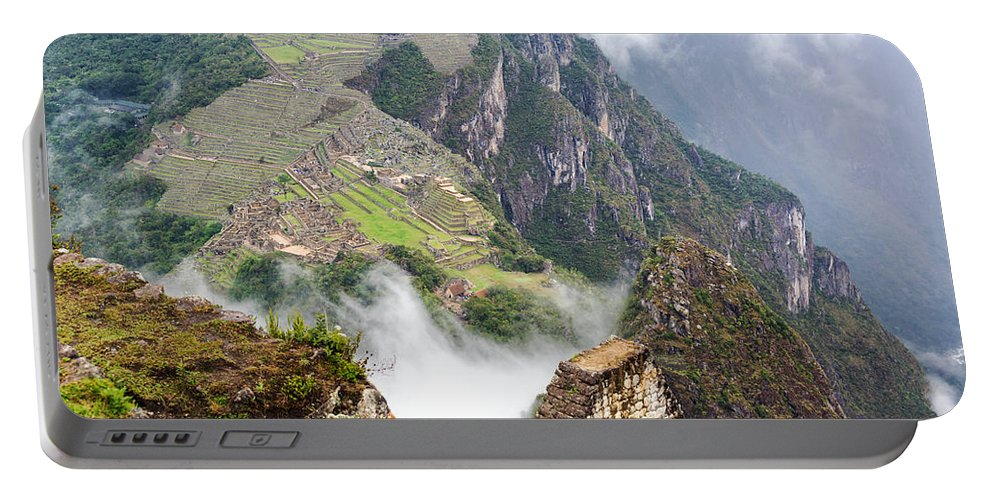 Machu Picchu Portable Battery Charger featuring the photograph Machu Picchu And Fog by Jess Kraft