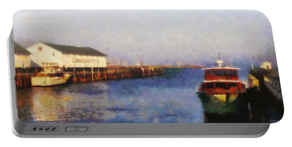 Mackinac Island Portable Battery Charger featuring the photograph Mackinac Island Michigan Ferry Dock by Betsy Foster Breen
