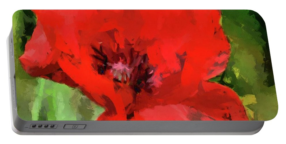Macro Portable Battery Charger featuring the painting Macro Poppy by Dragica Micki Fortuna