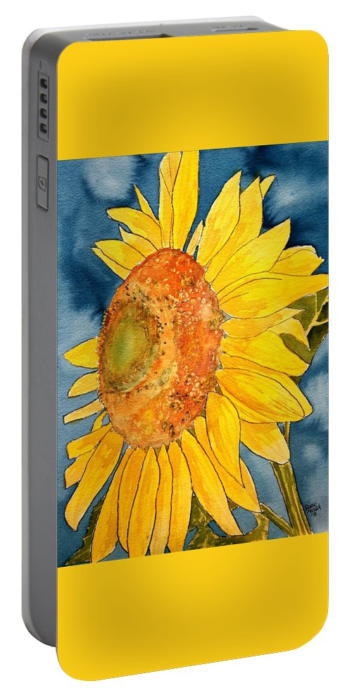 Sunflower Portable Battery Charger featuring the painting Macro Sunflower Art by Derek Mccrea