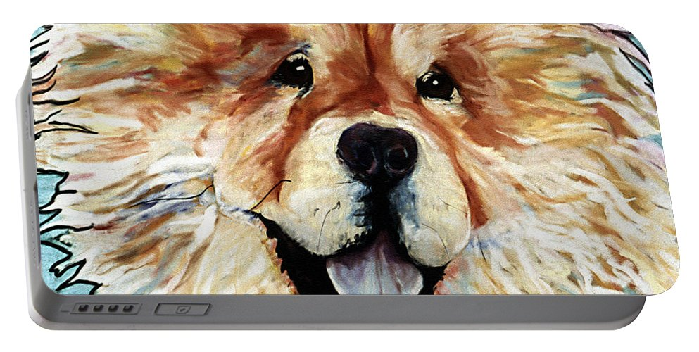 Chow Chow Portable Battery Charger featuring the pastel Madame Chu Cho by Pat Saunders-White