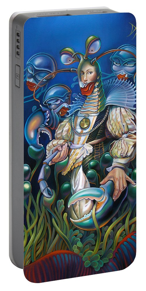 Sea Anemone Portable Battery Charger featuring the painting Madame Clawdia D'bouclier From Mask Of The Ancient Mariner by Patrick Anthony Pierson