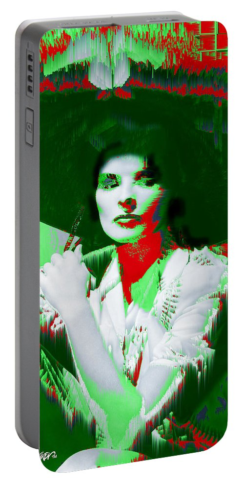 Katherine Hepburn Portable Battery Charger featuring the digital art Madame Kate And The Big Hat by Seth Weaver