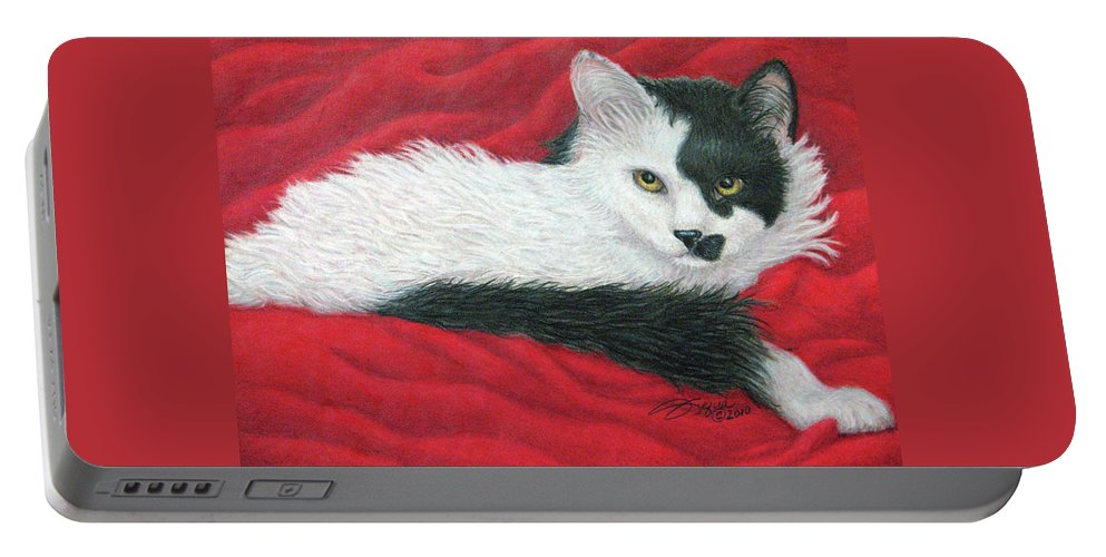 Pet Portraits Portable Battery Charger featuring the drawing Maddie In Red by Beverly Fuqua