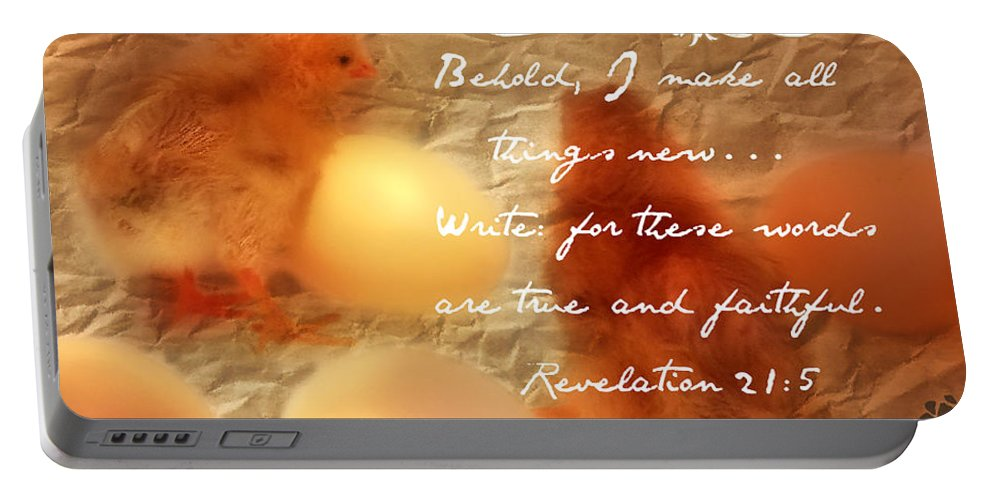 Made New Portable Battery Charger featuring the photograph Made New - Verse by Anita Faye