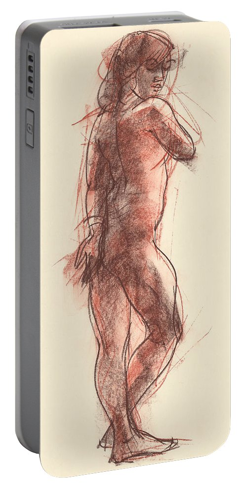 Female Portable Battery Charger featuring the drawing Madeleine by Judith Kunzle