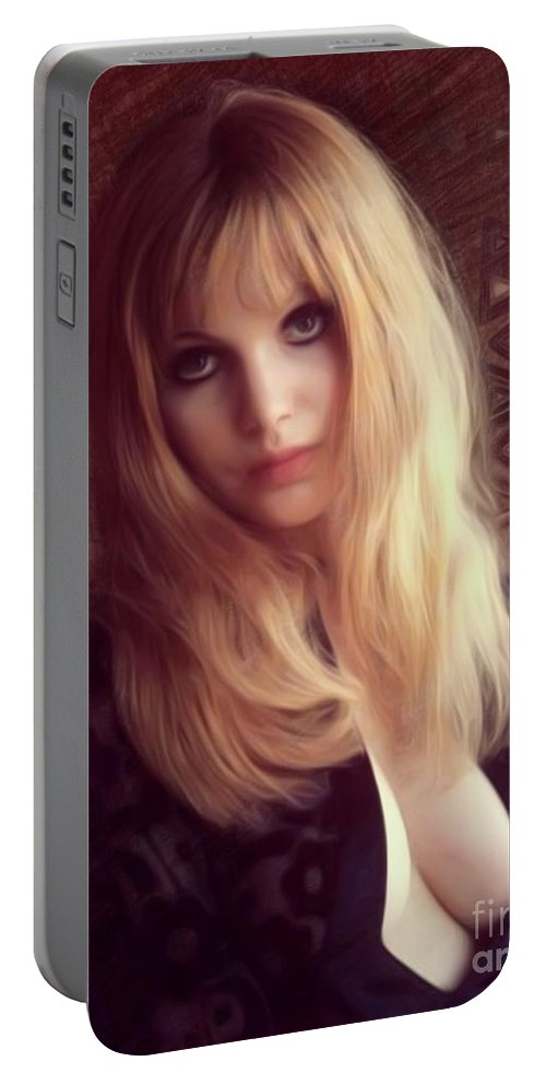 Madeline Portable Battery Charger featuring the digital art Madeline Smith, Vintage Actress by Mary Bassett