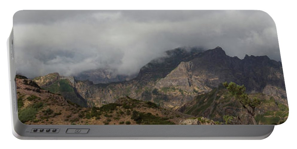 Maderia Portable Battery Charger featuring the photograph Maderia Mountains by Ceri Jones