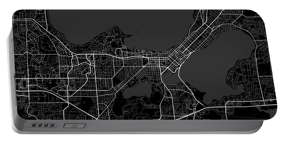 Road Map Portable Battery Charger featuring the digital art Madison Wisconsin Usa Dark Map by Jurq Studio