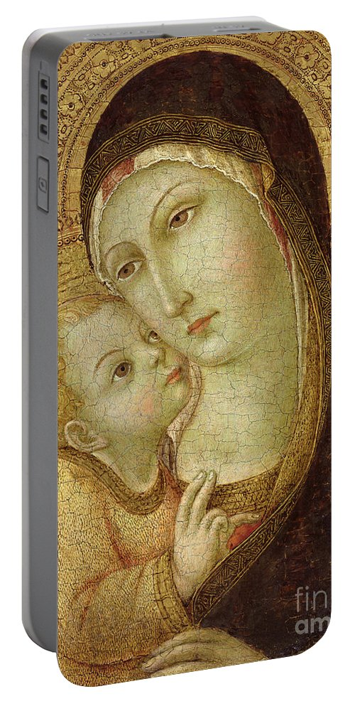 Madonna Portable Battery Charger featuring the painting Madonna And Child by Ansano di Pietro di Mencio