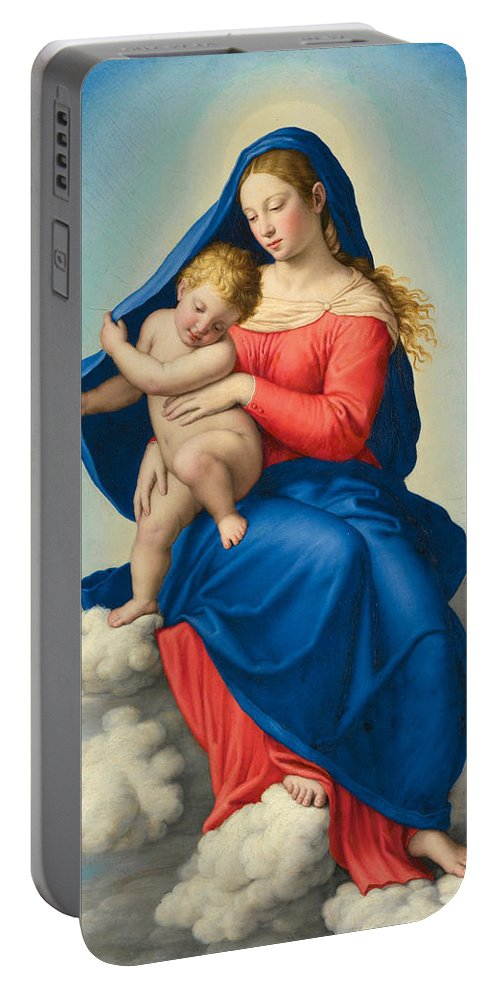 Sassoferrato Portable Battery Charger featuring the painting Madonna And Child In Glory by Sassoferrato