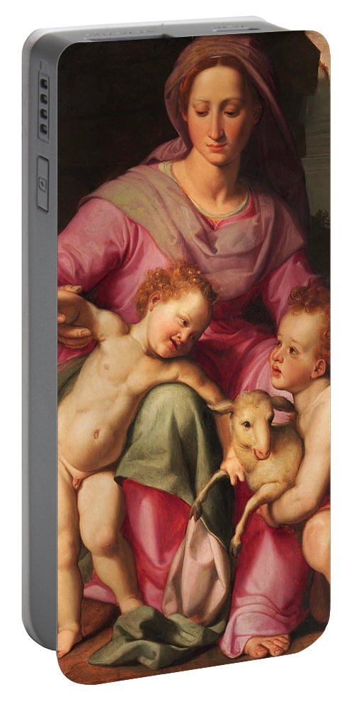 Santi Di Tito Portable Battery Charger featuring the painting Madonna And Child With The Infant Saint John The Baptist by Santi di Tito