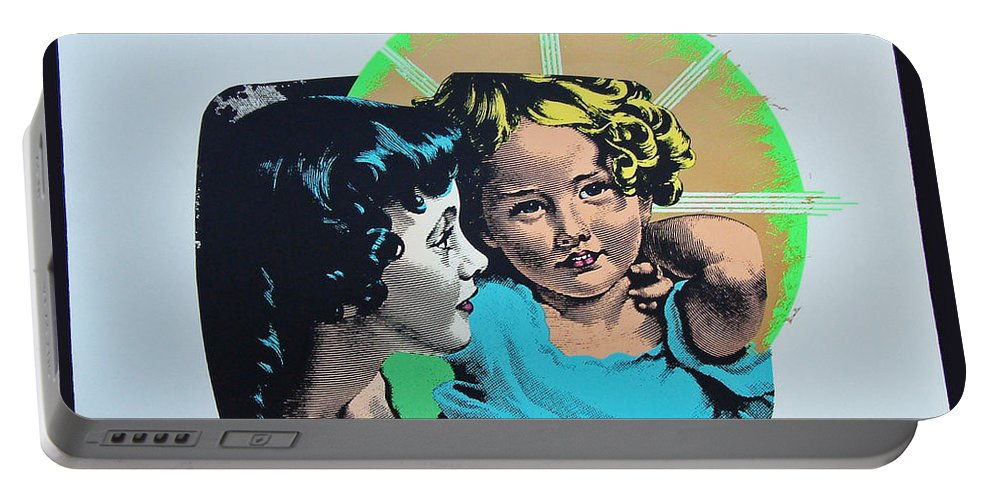 Madonna And Child Portable Battery Charger featuring the mixed media Madonna De Milo by Charles Stuart