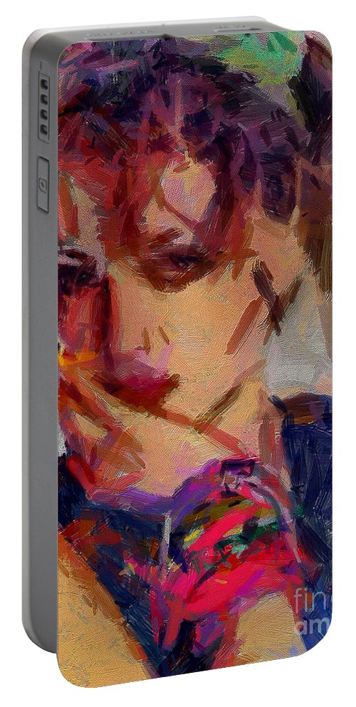 Madonna Portable Battery Charger featuring the painting Madonna Collection - 2 by Sergey Lukashin
