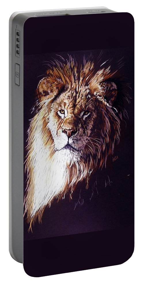 Lion Portable Battery Charger featuring the drawing Maestro by Barbara Keith
