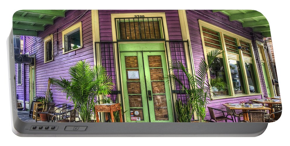 Nola Portable Battery Charger featuring the photograph Magazine Street Resaurant by Tammy Wetzel