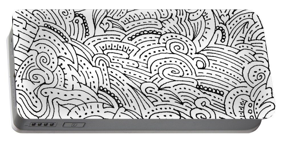 Mazes Portable Battery Charger featuring the drawing Magdalena by Steven Natanson
