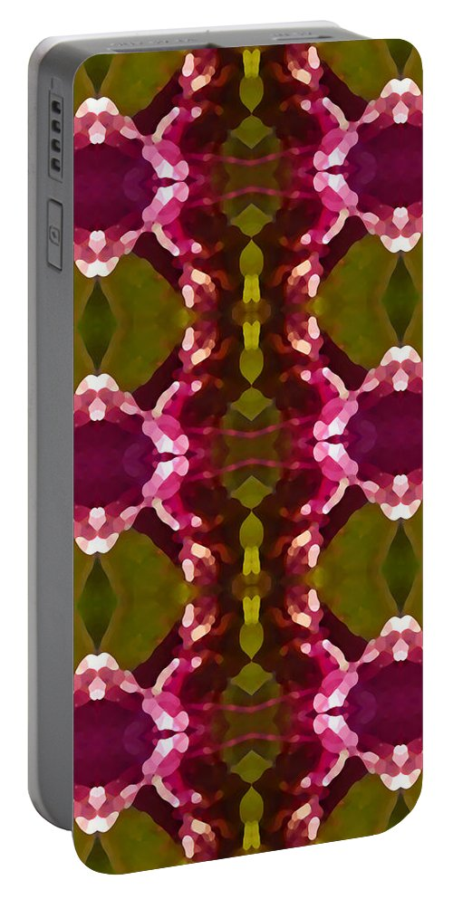Abstract Portable Battery Charger featuring the painting Magenta Crystal Pattern by Amy Vangsgard
