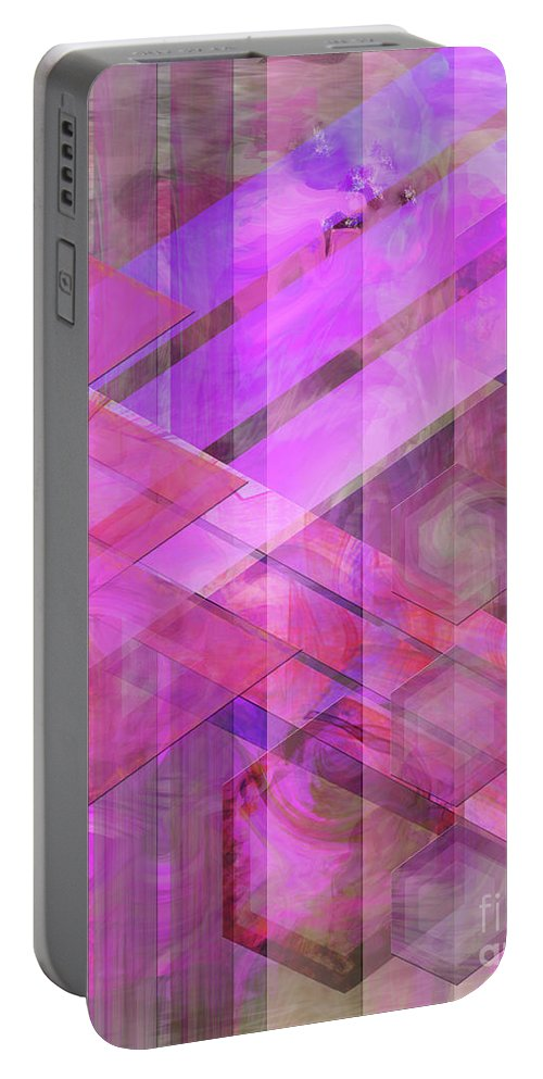 Magenta Haze Portable Battery Charger featuring the digital art Magenta Haze by John Beck