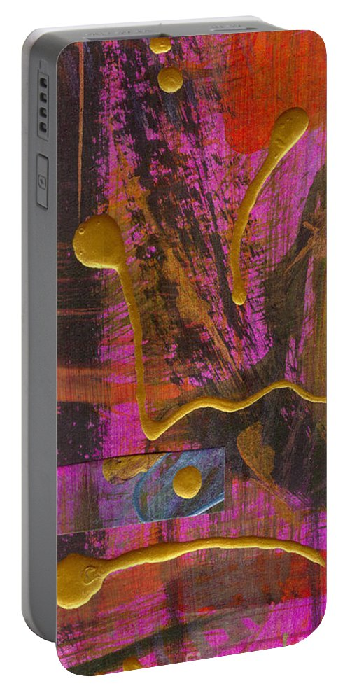Gretting Cards Portable Battery Charger featuring the mixed media Magenta Joy by Angela L Walker