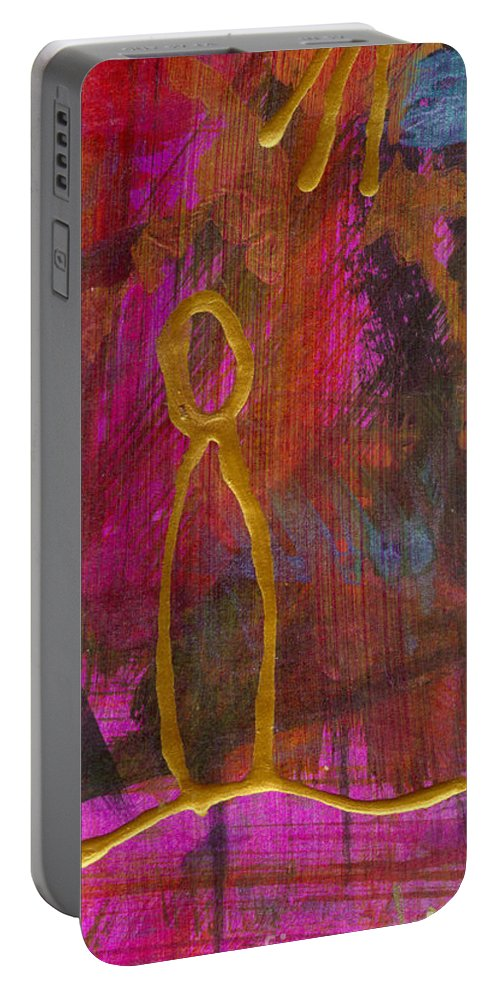 Gretting Cards Portable Battery Charger featuring the mixed media Magenta Joy Stands Alone by Angela L Walker