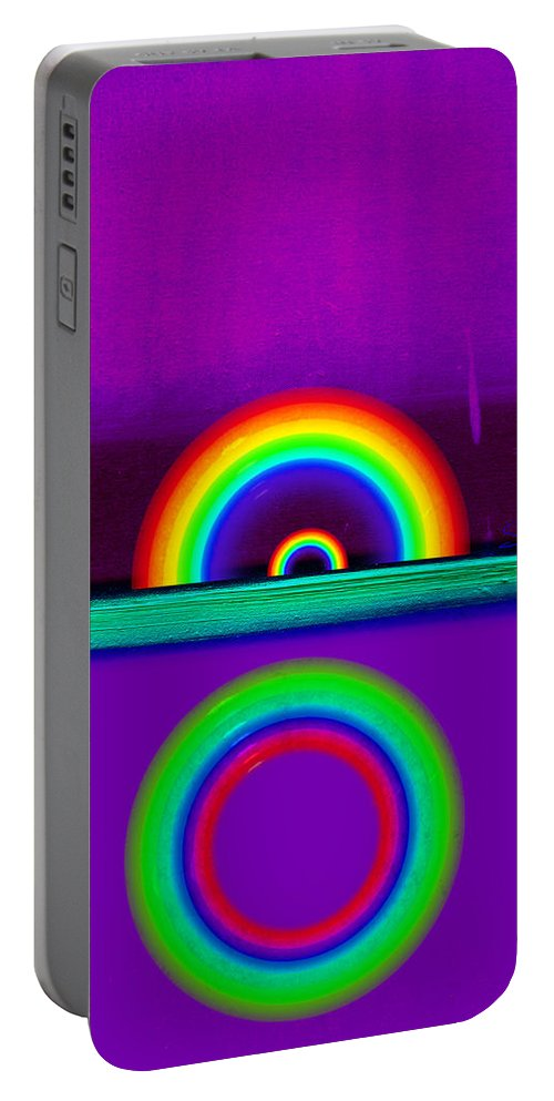 Rainbow Portable Battery Charger featuring the painting Magenta Sunset by Charles Stuart