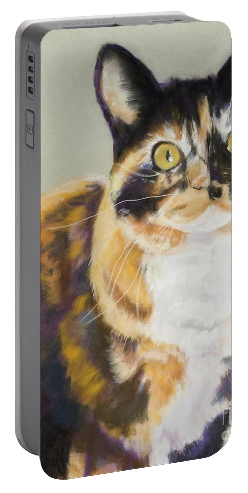 Calico Portable Battery Charger featuring the painting Maggie Mae by Pat Saunders-White