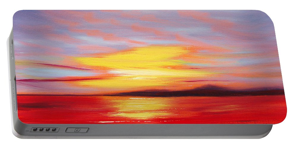 Sunset Original Painting Gold Yellow Red And Orange Colors Art By Gina De Gorna Seascape Abstract Portable Battery Charger featuring the painting Magic At Sunset by Gina De Gorna