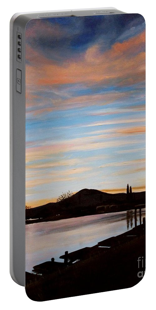 Landscape Portable Battery Charger featuring the painting Magic by Elizabeth Robinette Tyndall