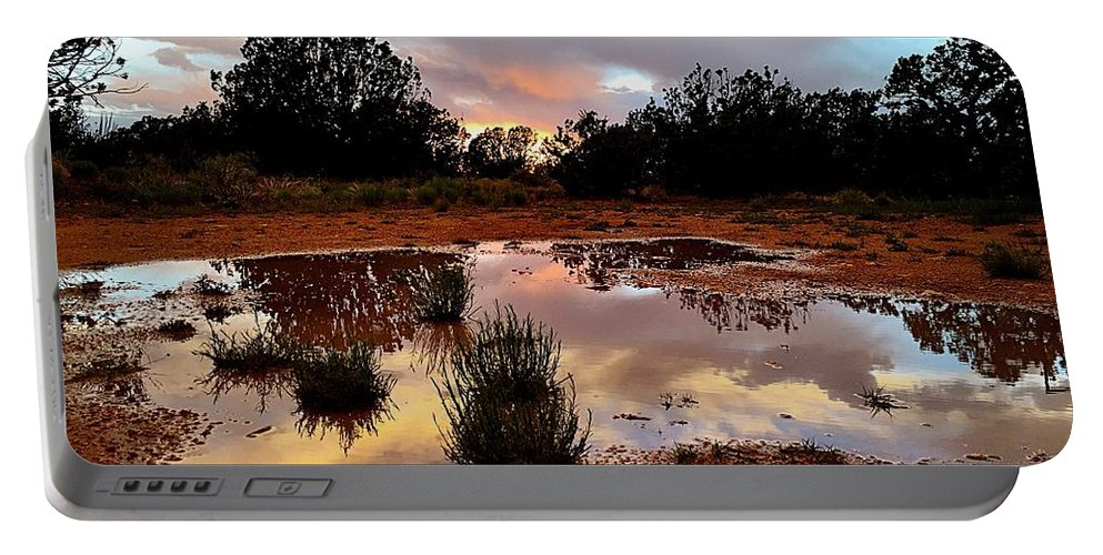 Rain Portable Battery Charger featuring the photograph Magic In A Rain Puddle by Brad Hodges