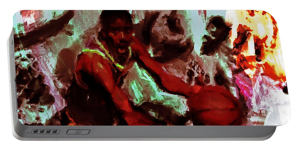 Magic Johnson Portable Battery Charger featuring the painting Magic Johnson Taking Flight by Brian Reaves