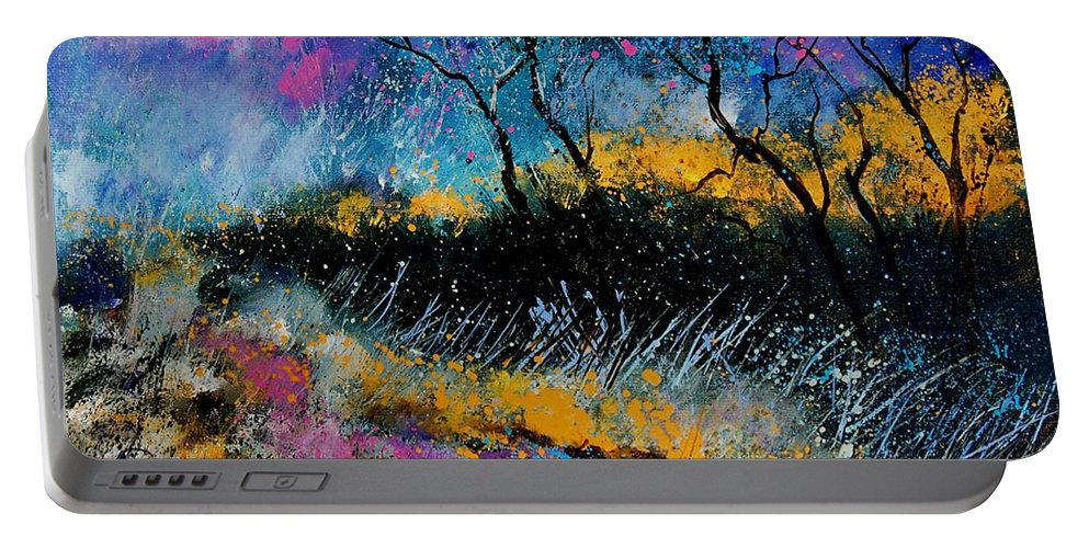Landscape Portable Battery Charger featuring the painting Magic Morning Light by Pol Ledent
