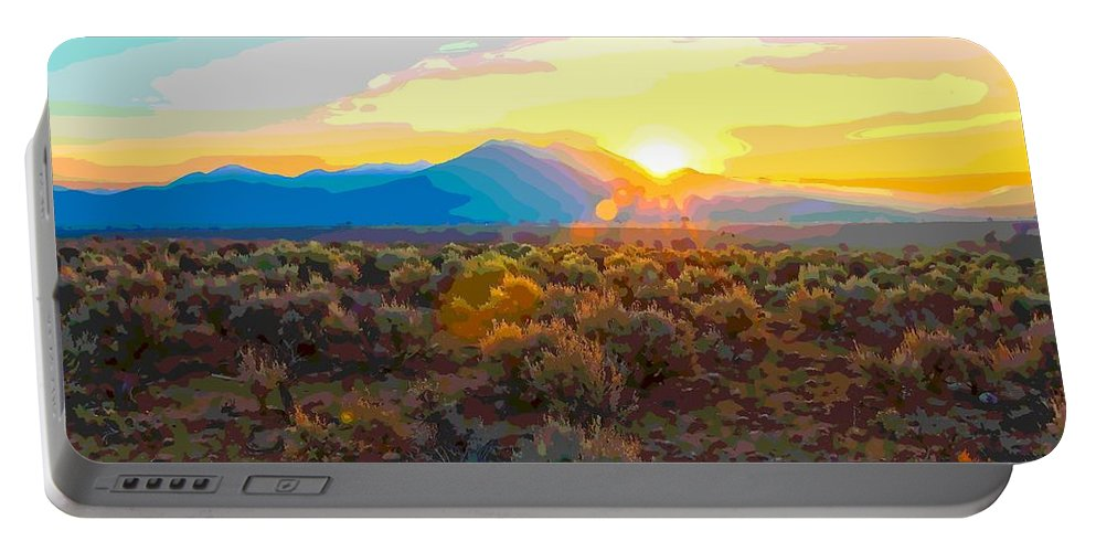 Dawn Portable Battery Charger featuring the painting Magic Over Taos by Charles Muhle
