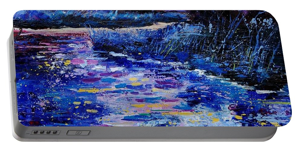 River Portable Battery Charger featuring the painting Magic Pond by Pol Ledent