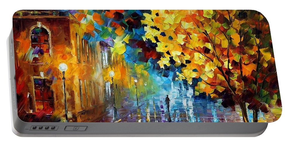 Afremov Portable Battery Charger featuring the painting Magic Rain by Leonid Afremov