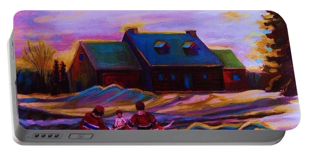 Hockey Portable Battery Charger featuring the painting Magical Day For Hockey by Carole Spandau