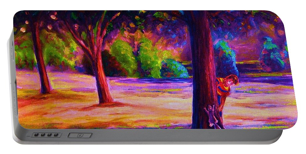 Landscape Portable Battery Charger featuring the painting Magical Day In The Park by Carole Spandau
