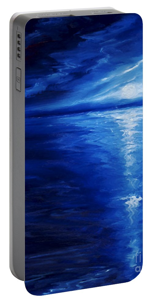 Blue Moon Portable Battery Charger featuring the painting Magical Moonlight by James Christopher Hill