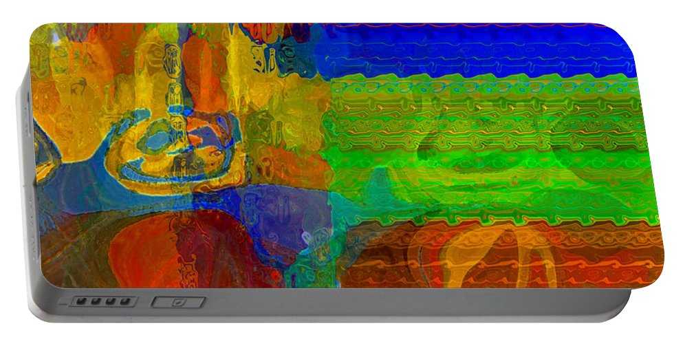 Yellow Portable Battery Charger featuring the digital art Magical Multi by Ruth Palmer