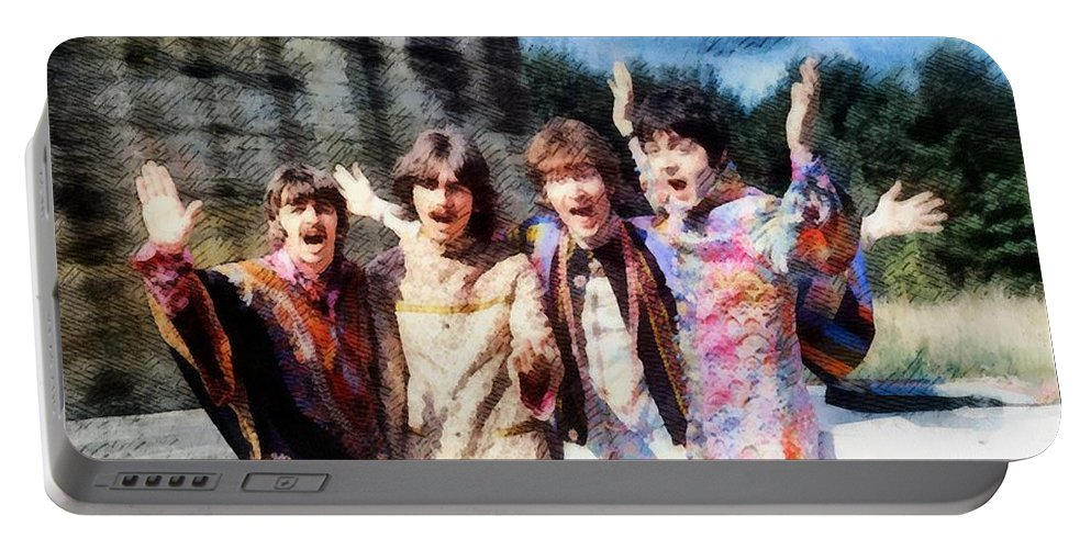 Hollywood Portable Battery Charger featuring the painting Magical Mystery Tour, The Beatles by Esoterica Art Agency